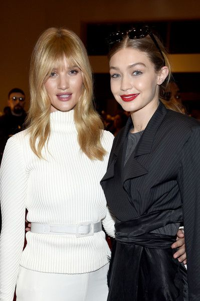 Models Rosie Huntington-Whiteley and Gigi Hadid attend Brandon Maxwell during New York Fashion Week: The Shows.
