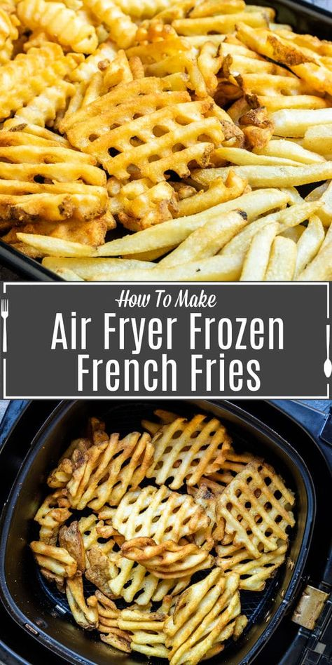 Make your frozen french fries perfectly crispy with our easy to follow instructions for Air Fryer Frozen French Fries. Times and temperatures for cooking frozen fries in the air fryer! #frenchfries #airfryer Cooking French Fries, Air Fry French Fries, Air Fryer Fries, Air Fryer Fried Chicken, Air Fryer Oven Recipes, Air Frier Recipes, Air Fryer Cooker, Frozen Waffles, Air Frying