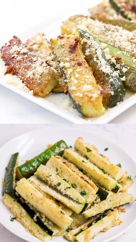 These baked zucchini fries are loaded with flavor and a crispy parmesan topping. They make the perfect side dish for any meal. Plus, they're healthy too! #zucchini #zucchinirecipes #bakedvegetables #vegetables #sides #sidedishes #sidedishrecipes #healthy #healthyrecipes #recipes #videos #videorecipes #recipevideos #iheartnaptime