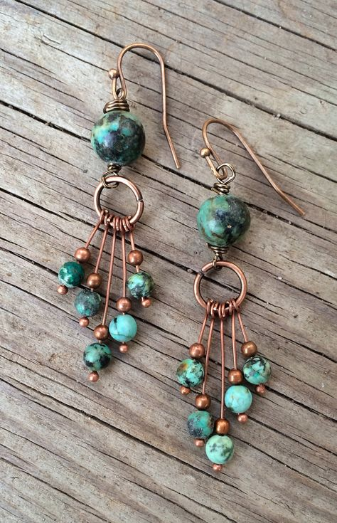 Copper+Earrings+/+Turquoise+Earrings+/+Natural+by+Lammergeier,+$30.00