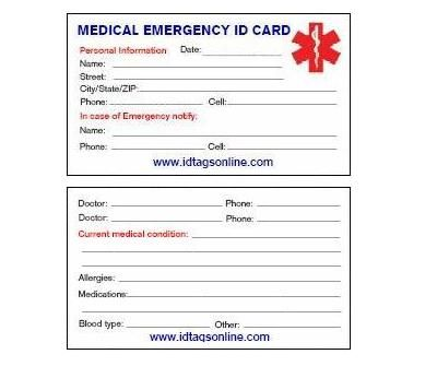 Free Printable Medical Wallet Id Cards Diabetes Card