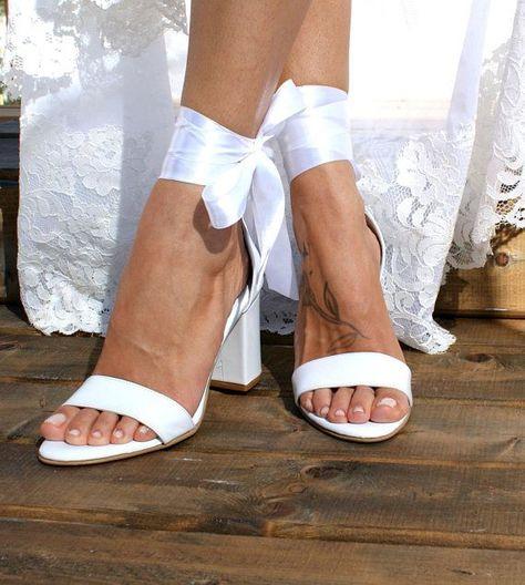 17ea59929c03 Block heel white leather wedding sandals  Handmade white leather heels  Bridal  heels with satin laces  Wedding shoes  White heels ANGELIC