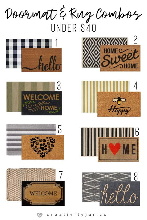 Update your entryway with these modern doormat and rug combos under 40 Get a trendy and affordable home decor look for less Front Door Porch, Front Door Mats, Front Door Decor, Fromt Porch Decor, Front Porch Fall Decor, Planters For Front Porch, Fromt Porch Ideas, Diy Front Porch Ideas, Outside House Decor