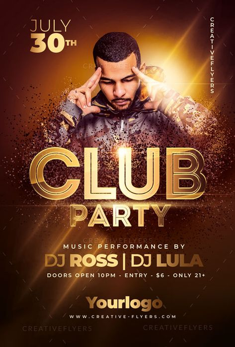 Club Party Flyer Template for Print - Creative Flyers
