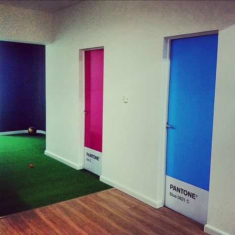 Pantone doors. This is probably impossible since we can't paint on the doors. But it's cute nonetheless
