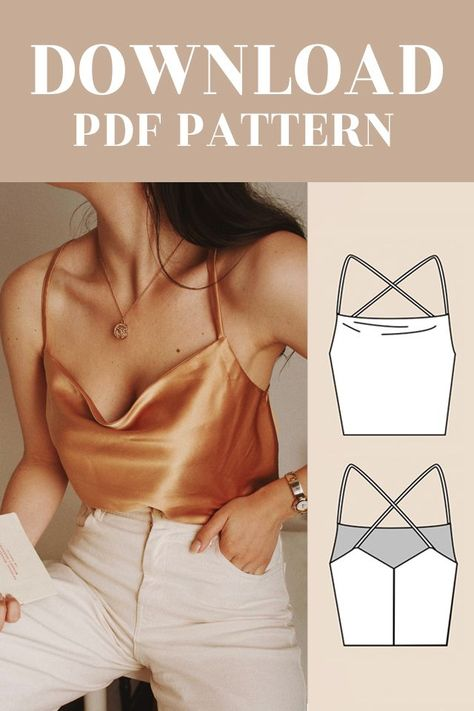PDF Amélie Cowl Neck Top Sewing Digital Pattern for Women UK 6-16 / EU 34-44 / US 2-12/ AU 6-16 Top features cowl neckline, cross back, spaghetti straps in a relaxed fit. It can be made in a variety of fabrics such as satin or crepe. You can see the example of the top in those two fabrics on the pictures attached. • Size chart and measure... #Cami #Cowl #Cross #Digital #fabric craft #fabric craft diy #fabric craft for kids #fabric craft no sew #fabric craft to sale #Neck #Pattern #pdf #Top