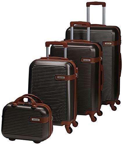 تشاليش حقائب سفر بعجلات للجنسين 4 قطع بني Fashion Luggage