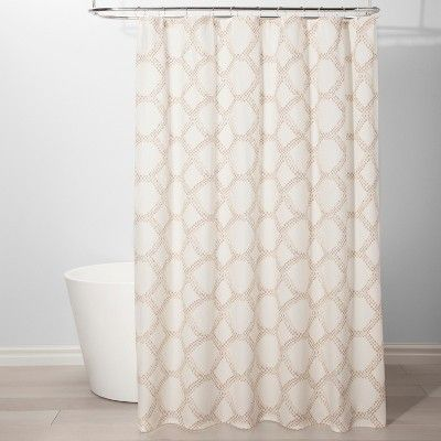 Neutral Grid Shower Curtain Beige Threshold Target Grid