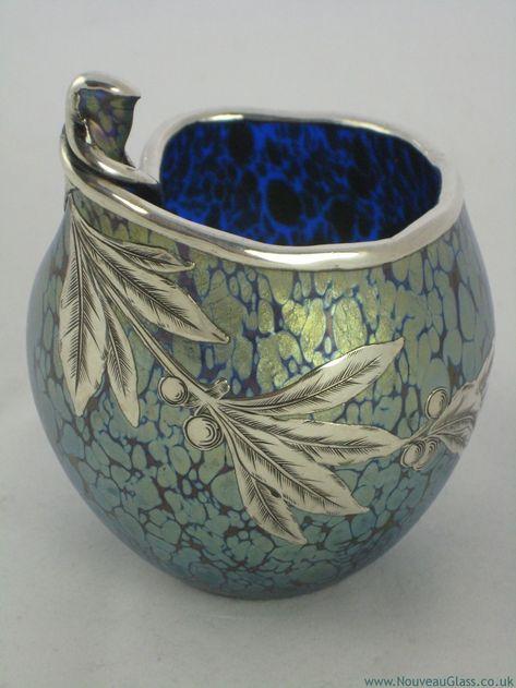 LOETZ Cobalt, 'Papillon', Silver/Overlay Vase / Art Nouveau Glass & Decorative Arts