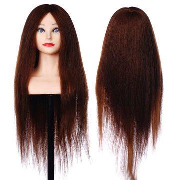 26 90 Real Human Hair Mannequin Head Hairdressing Training Head Model Salon Brown Real Human Hair Hair Mannequin Human Hair