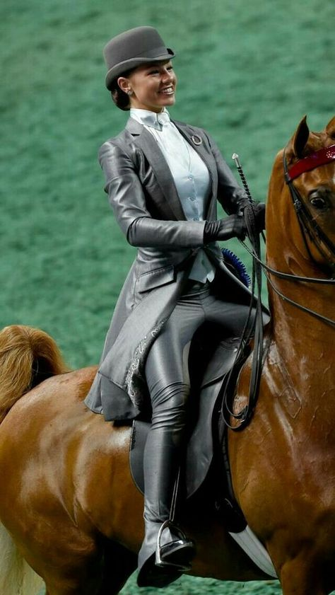 All black leather equestrian riding outfit
