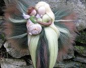 Needle Felted Wool  fairy with baby