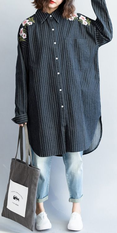 81606078c1b fashion outfit Refashion Turn-down Collar embroidery dark blue ...