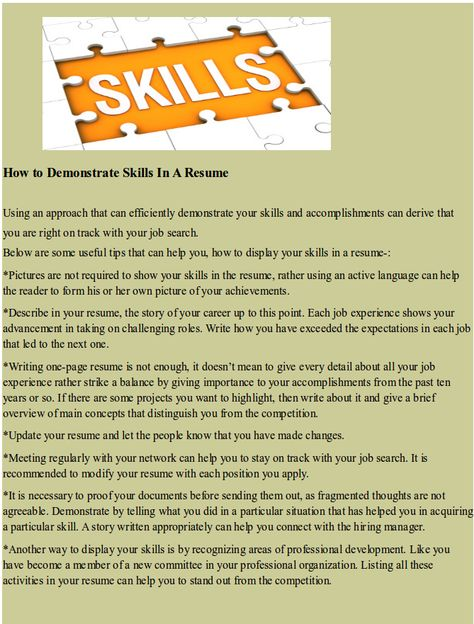 How To Demonstrate Skills In A Resume  Hipcv Resume Tips  Articles