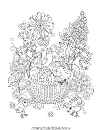 Magical Printable Grownup Coloring Easter Basket Easter Coloring Book Easter Coloring Pages Cute Coloring Pages