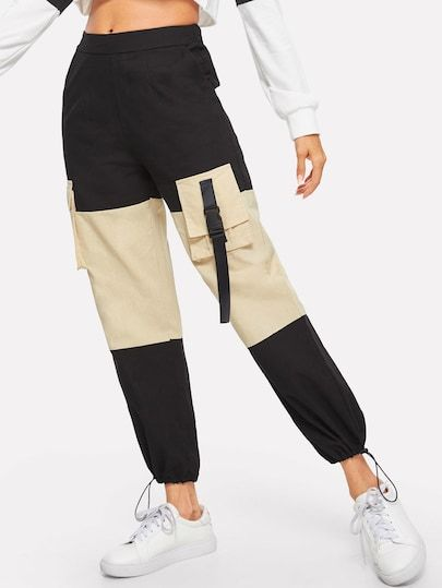 Contrast Panel Pocket Detail Pants Pants190122102 34 00 Cuteshopp Com Pantalones Cargo Mujer Moda De Ropa Pantalones De Moda