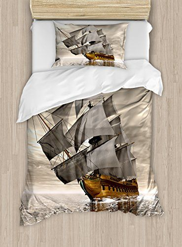 Ambesonne Ocean Duvet Cover Set Twin Size 3d Style Pirate Ship Sea Hi Ocean Duvet Cover Duvet Cover Sets Matching Bedding And Curtains
