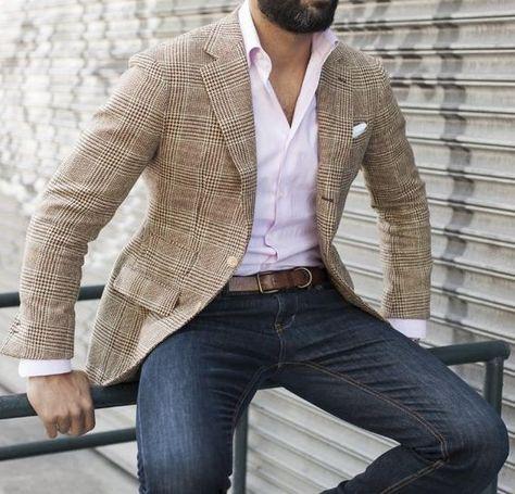 Sportjacke Mantel Jeans Button-Down-Shirt pink - Herren mode & Men's Fashion Checked Blazer, Plaid Blazer, Casual Blazer, Khaki Blazer Mens, Blazer With Jeans Men, Navy Blazers, Plaid Coat, Sports Jacket With Jeans, Jacket Jeans