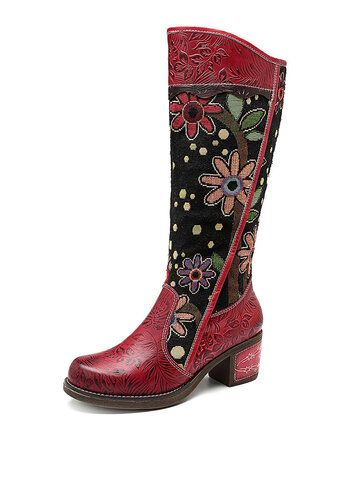 SOCOFY Women Floral Pattern Genuine Leather Shoes Splicing Knee High Boots