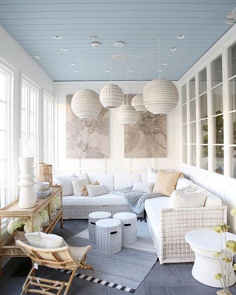 Sunroom inspiration, courtesy of Serena & Lily's Summit Design Shop - Home & DIY Sunroom Decorating, Sunroom Ideas, Enclosed Porch Decorating, Enclosed Porches, Porch Ideas, Florida Home Decorating, Back Porches, Small Sunroom, 3 Season Room