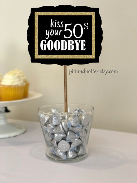 Kiss Your Goodbye centerpiece stick for Birthday Party for Women or Birthday Party for Men. Available in color themes gold, silver, green, blue, red from 40th Birthday Party For Women, 60th Birthday Party Decorations, Moms 50th Birthday, 40th Birthday Gifts, Birthday Woman, Birthday Table, Surprise 30th Birthday, Birthday Sayings, Birthday Crafts