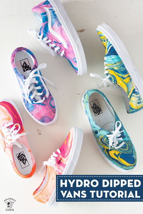 Learn how to customize your shoes with hydro dipping. A video and tutorial showing you how to hydro dip vans or other canvas shoes. Orange Shoes, White Shoes, Vans Tie Dye, Diy Hydro Dipping, Tye And Dye, Tye Dye, How To Dye Shoes, How To Paint Shoes, Diy Tie Dye Shoes