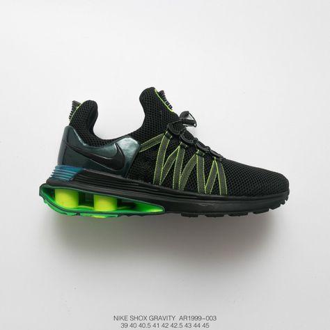 AR1999-003 Mens NIKE SHOX GRAVITY Men s Air Column Relief Trainers Shoes  Black Green  972d112c7