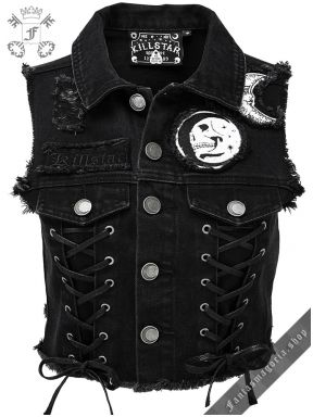 Gothic fashion 591027151083602335 - Killstar Phased Out Crescent Full Moon Gothic Occult Punk Denim Vest Source by Grunge Outfits, Punk Outfits, Vest Outfits, Gothic Outfits, Fashion Outfits, Womens Fashion, Stylish Outfits, Dressy Outfits, Fashion Clothes