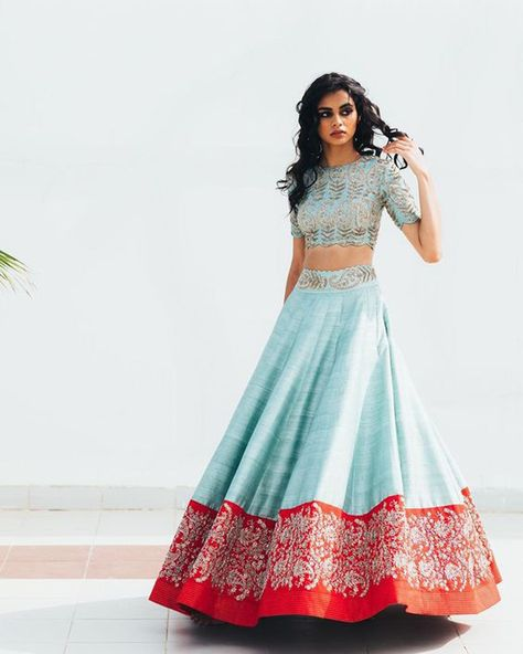 Indian Lehenga, Raw Silk Lehenga, Half Saree Lehenga, Lehnga Dress, Blue Lehenga, Lehenga Style, Sarees, Lehenga Designs, Half Saree Designs