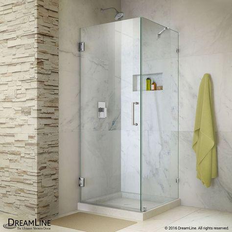 Unidoor Lux 30 Inch X 72 Inch Frameless Corner Hinged Shower Door In