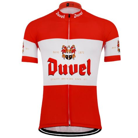 Duvel Beer Retro Cycling Jersey Red White Freestylecycling Com Cycling Outfit Cycling Jersey Cycling Fashion