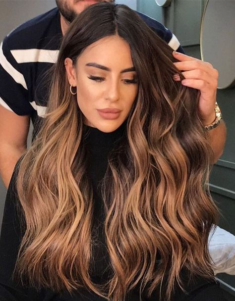 Long Wavy Ash-Brown Balayage - 20 Light Brown Hair Color Ideas for Your New Look - The Trending Hairstyle Brown Hair Balayage, Brown Hair With Highlights, Hair Color Balayage, Brown Hair Colors, Brunette Ombre Balayage, Ombre Hair Color For Brunettes, Ombre On Brown Hair, Carmel Ombre Hair, Hair Color Brunette