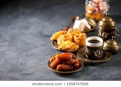 Eid Mubarak With Arabic Coffee Pot And Dates Dried Dates And Coffee On A Dark Background Ramadan Eid Concept Marriagephotos Food Dried Dates Arabic Coffee