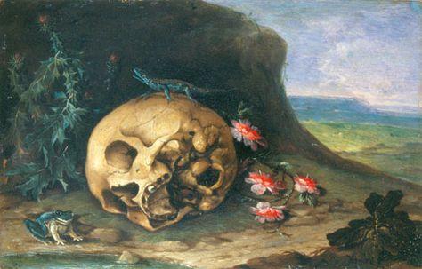 Johann Philipp Von Purgau Vanity Still Life In A Landscape With A Frog And Lizard Vanitas Painting Still Life