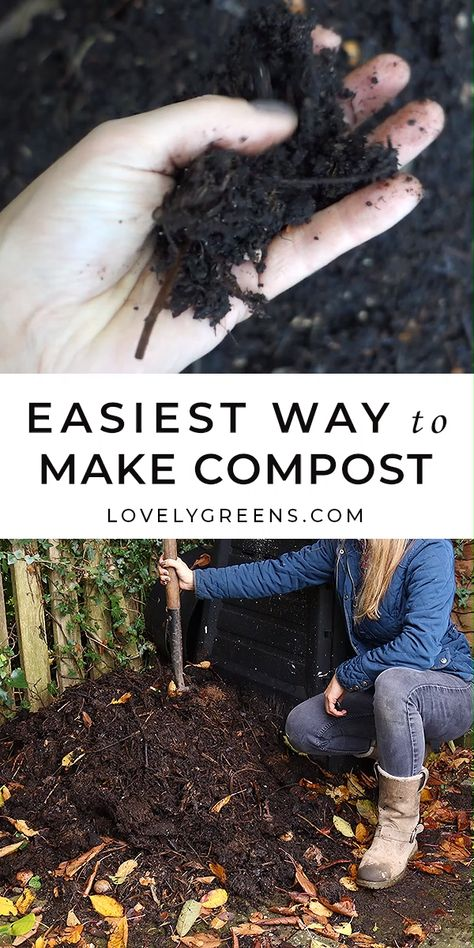 There are many ways to make compost but this is the easiest way. All you need is a bin, a mixture of brown and green waste, and a little bit of time #gardeningtips #vegetablegarden #compost