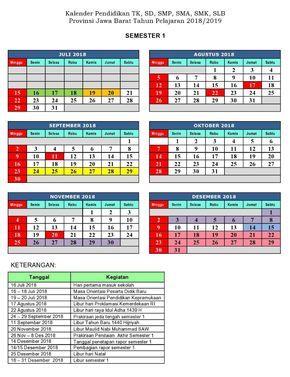 Kalender Pendidikan Prov Jawa Barat 2018 2019 Pendidikan Kalender Desain Kalender