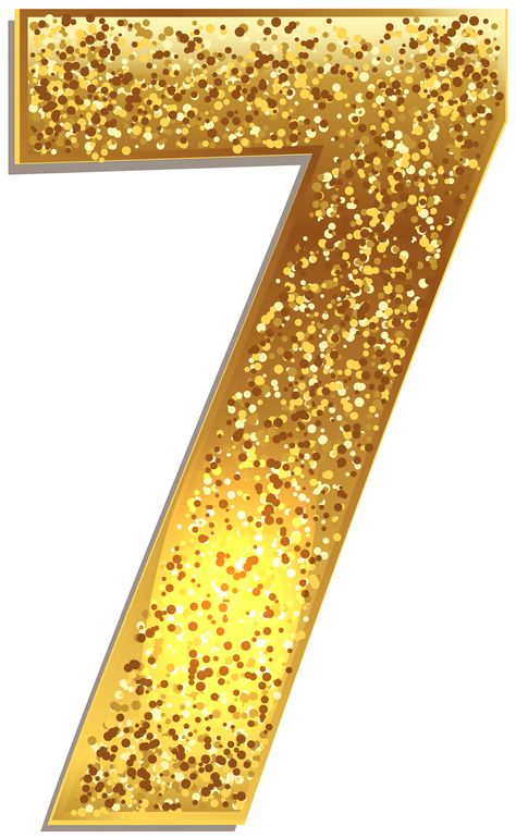Number Seven Gold Shining PNG Clip Art Image | Gallery Yopriceville - High-Quality Images and Transparent PNG Free Clipart