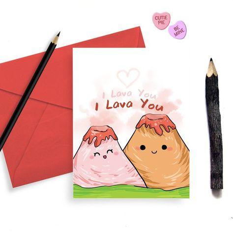 I Lava You Adorable Valentine's Day Card - for Him Husband Boyfriend Kids - Lava Volcano - Love Vale