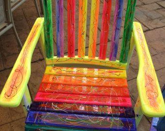 Rainbow Funky Vibrant Chair OOAK Uniquely by ArtFromWonderlandia