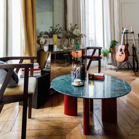 Table Basse Carlotta Pieds En Bois Laque Rouge Et Plateau En