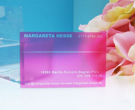 Visitenkarte Transparent Durchscheinend Farbig Pink