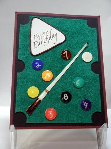 Billiard Table - Handmade Card by Susan Sieracki