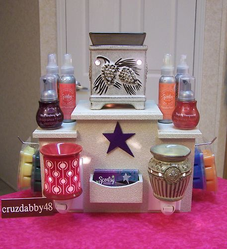 Pee Wee Display for Scentsy Plug-Ins, Warmers, Room Sprays, Fragrance Foams, Bars, And Business Cards! Awesome Idea!