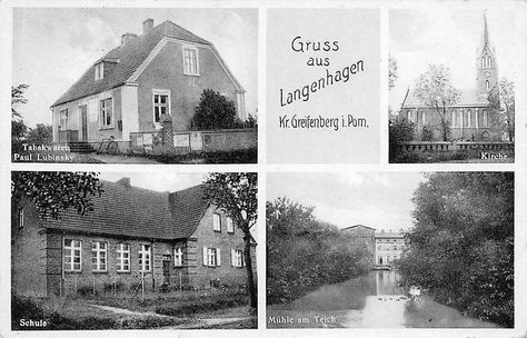AK Gruss aus Langenhagen Kr. Greifenberg i. Pom. Schule Tabakwaren Mühle g. 1937 | eBay