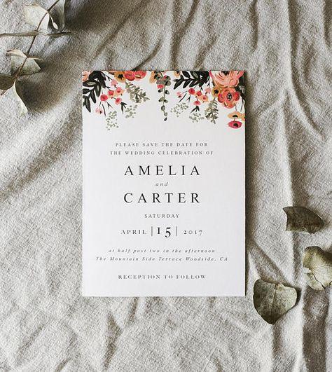 Printable Watercolor Botanical Wedding Invitation, Greenery Minimalist Wedding Invitation, DIY Wedding