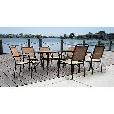 7 Piece Patio Dining Set Outdoor Steel 6 Chairs Table Garden Recliner Tabletop Patio Dining Set Outdoor Dining Set Patio Furniture Sets