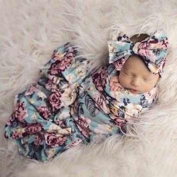 Cyeer ❤ Baby Blanket,Newborn Infant Floral Swaddle Turban Hat Soft Sleeping Blanket Wrap Set