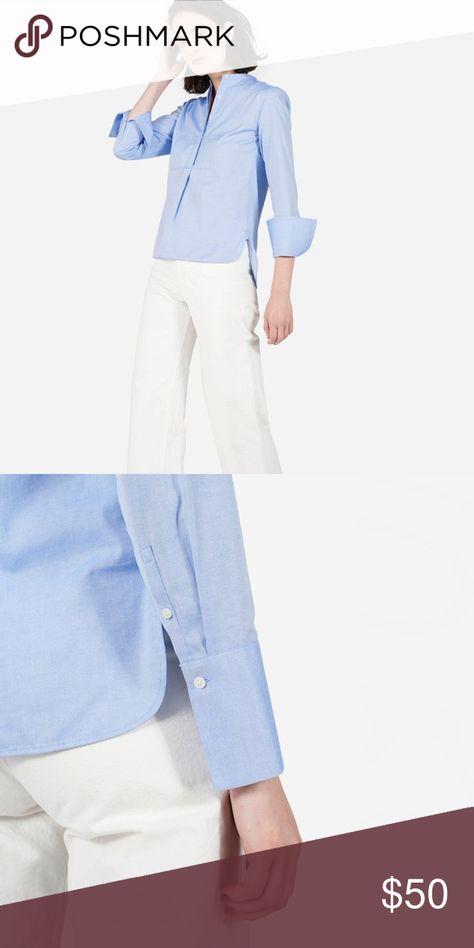 6c52968e964 EVERLANE light blue Japanese oxford bib shirt Stylish minimalist 100% cotton  shirt. Perfect for work! Wear on its own or under a blazer.