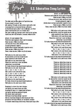 Free Printable Lyric Sheet Ed Sheeran Education Song Great Song For Back To School Or Refocusing Students In The Spring Developed I Song Lyrics Lyrics Songs