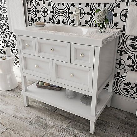 Glacier Bay Ashland Ii 36 Inch 3 Drawer Vanity With Top In White The Home Depot Canada Home Drawer Design 36 Inch Vanity